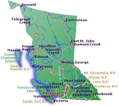 British columbia, vancouver maps, bc maps, british columbia maps
